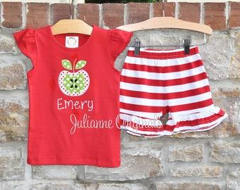 Apple Girls Personalized Monogram Back To School Outfit -  Back To School Apple Monogram Shirt and Ruffle Shorts- Julianne Originals