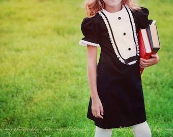 1960 Style Retro Black girly Tuxedo dress