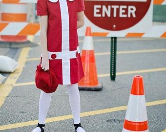 Retro 1960's style  Lauren.. red and white dress-children clothing Valentine