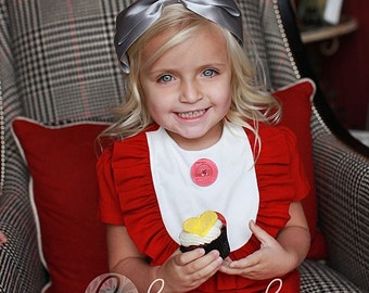 Retro  1960's style  Red Layla dress... with bib and ruffle-children clothing Christmas dress