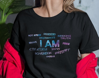 I AM - Free, Creative, Sovereign, Focused, Brave - Galaxy Short-Sleeve Unisex T-Shirt