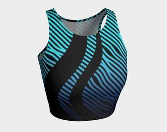 2a77ac4b5e90 Geometrix - Waves Blue Ombre Athletic Crop Top
