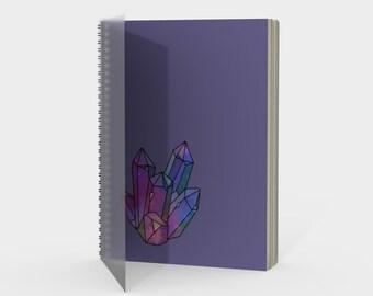Cosmic Crystals Amethyst Rainbow Spiral Notebook Lavender