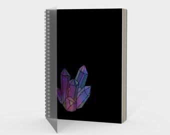 Cosmic Crystals Amethyst Rainbow Spiral Notebook Black