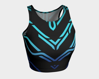 Geometrix - Cable Blue Ombre Athletic Crop Top