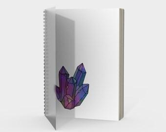Cosmic Crystals Amethyst Rainbow Spiral Notebook White