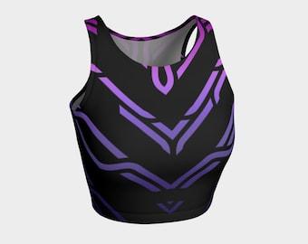 Geometrix - Cable Purple Ombre Athletic Crop Top