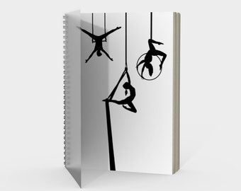Aerial Circus Spiral Notebook Black and White