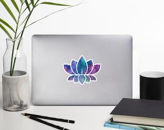 Cosmic Lotus Flower Bubble-free stickers - Galaxy, Nebula, Stars, OM, Mediation, Yoga