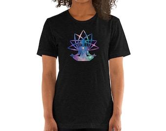 Cosmic Mediation Aura Short-Sleeve Unisex T-Shirt - Galaxy, Stars, Halo, OM, Yoga