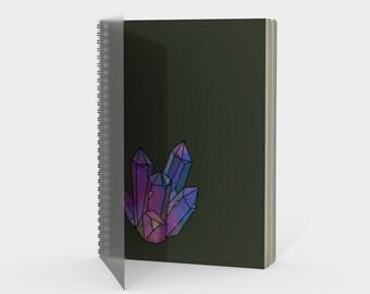 Cosmic Crystals Amethyst Rainbow Spiral Notebook Sage