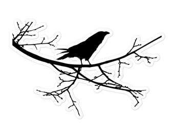 Raven On a Branch Sticker - Onyx, Black, Midnight