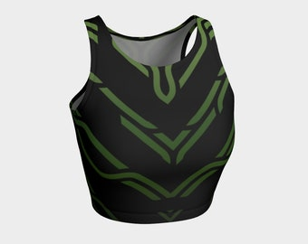Geometrix - Cable Green Ombre Athletic Crop Top