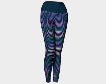 Neon Lines - Deep Blue Sea Yoga Leggings
