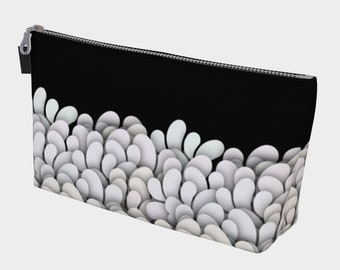 Black and White - Petals Makeup Gear Bag with Pocket