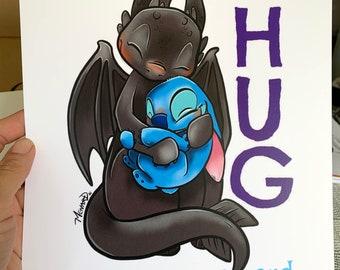 Hug - toothless and stitch hugging art print