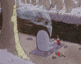 By The River - Wandering Monster - Original Illustration - Digital Print
