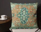 Persain Heriz Serapi Textile Print No. 2 Boho Square Pillow Decorative Bohemian Decor Ethnic Fabric Printed Pillow
