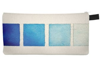 Blue Watercolor Swatches Pencil Case Cosmetic Bag Makeup Pouch Travel Zipper Case