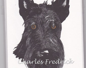 Scottish Terrier Note Cards With Brown Eyes