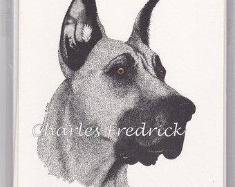 Great Dane Note Cards With Brown Eyes