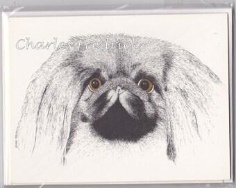 Pekingese Note Cards With Brown Eyes