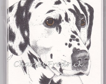 Dalmatian Note Cards With Brown Eyes