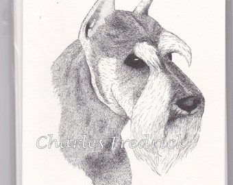 Schnauzer Note Cards With Brown Eyes