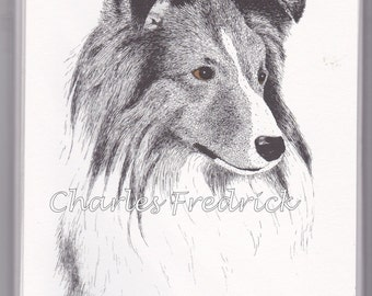 Shetland Sheepdog Note Cards With Brown Eyes