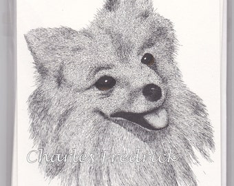 Pomeranian Note Cards With Brown Eyes