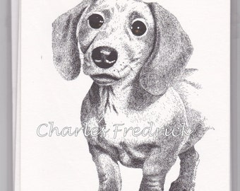 Dachshund Note Cards With Brown Eyes