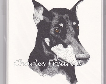 Doberman Pinscher Note Cards With Brown Eyes