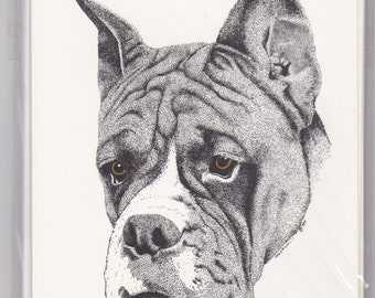 Boxer Dog Note Cards With Brown Eyes