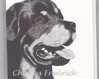 Rottweiler Note Cards With Brown Eyes