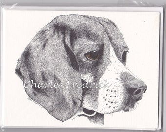 Beagle Note Cards With Brown Eyes