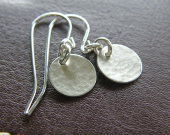 Everyday Silver Earrings - Hammered (Hand-Textured) Sterling Silver - Tiny Circle Earrings