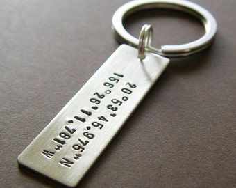 Longitude Latitude Silver Keychain - Personalized with GPS Coordinates - Hand Stamped Sterling Silver - Wide Bar, Double-Sided Key Chain