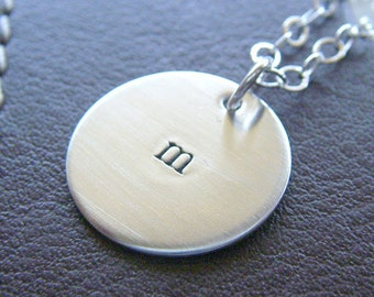 """Personalized Silver Charm Necklace - Hand Stamped Sterling Silver - Custom 3/4"""" Charm with Two-Sided Stamping - Optional Birthstone or Pearl"""
