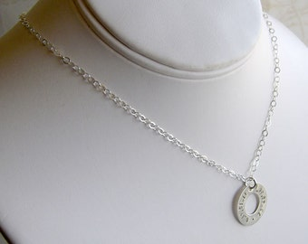 Longitude Latitude Silver Washer Necklace - Personalized GPS Coordinates - Hand Stamped Sterling Silver - Optional Birthstone or Pearl