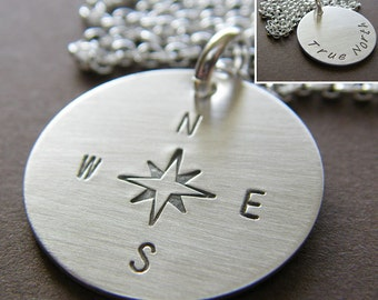 """Personalized Silver Charm Necklace - Hand Stamped Sterling Silver - 3/4"""" Double-Side Stamping Charm Jewelry - Optional Birthstone or Pearl"""