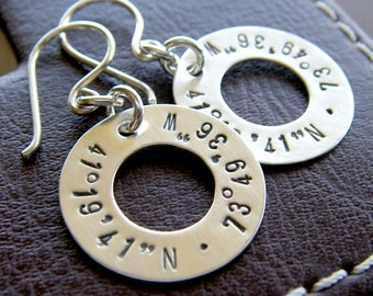 Longitude Latitude Silver Washer Earrings - Personalized GPS Coordinates - Hand Stamped Sterling Silver Jewelry - Optional Birthstone Drops