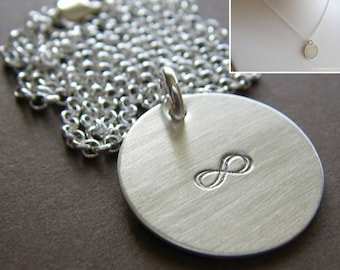 """Personalized Silver Charm Necklace - Hand Stamped Sterling Silver - 3/4"""" Charm with Double-Side Stamping - Optional Birthstone or Pearl"""