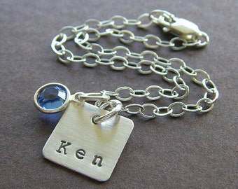 """Personalized Sterling Silver Bracelet - Hand Stamped Charm Jewelry - 1/2"""" Square Sterling Silver Charm - Optional Birthstone or Pearl"""