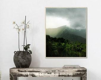 Hawaii Wall Art, Mountain Photograph, Green Hawaiian Print, Oahu Wall Decor, Nature Art, Storm Picture