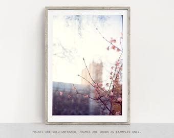 London Print, Cherry Blossoms, London Cityscape, Travel Photography Print, Minimalist Wall Art, Large Wall Art