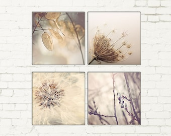 Nature Large Canvas Wall Art Set, Woodland Decor, Dandelion Photography, Pussy Willows Photo, Neutral, Brown, Beige, Gray Canvas Art