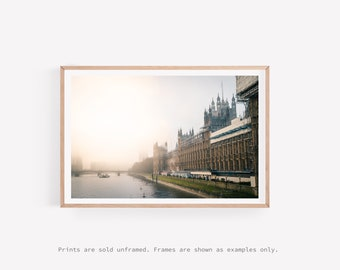 London Print, Palace of Westminister, River Thames, London Cityscape, Travel Photography Print, Minimalist Wall Art, Large Wall Art