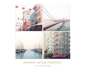San Francisco Photo Set, Golden Gate Bridge, China Town Picture, SF City Art, Large Wall Art Set, SF Photography 4x4, 5x5, 8x8, 10x10, 12x12