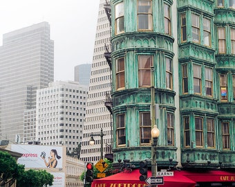 San Francisco Photography, Sentinel Building, Downtown SF, Architecture Picture, Columbus Tower, Modern City Wall Art, Hipster Decor