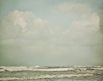 Ocean Photography, beach art, coastal decor, Oregon coast, beach landscape photograph, pastel blue